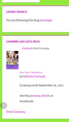 "Win an autographed copy of my debut Christian contemporary romance novel Love, Texas – Population 2.  Go to the ""Goodreads Giveaway"" sidebar on my website and click ""Enter Giveaway.""  #goodreads"