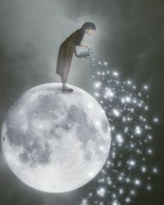 Illustration Moon A shower of Stars to illuminate the night of those who are alone ! Sun Moon Stars, Sun And Stars, Surrealism Photography, Art Photography, Exposure Photography, Levitation Photography, Moon Pictures, Good Night Moon, Moon Magic