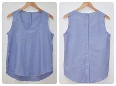 Re-purposed from a mens shirt, tutorial not in English though.  mamemimo: wiksten tank top azul