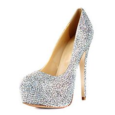 Gorgeous Leather Stiletto Heel Round Toe With Colorful Rhinestone Pumps Party / Evening Shoes