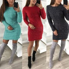 1aade0a2c93 UPPIN New Autumn and Winter Turtleneck sweater Knitted Sweater Women Solid  Color Long sweater dress pullover Jumper