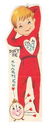 Vintage Valentine Card Boy in Pajamas Alarm Clock Die Cut for Children Kids | eBay