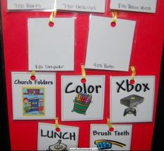 Early Childhood Daily Picture Schedule.  pictures hung on a ribbon so that the child can just turn the card around when item accomplished.