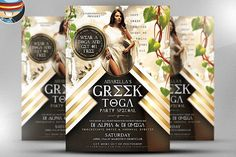 Greek Toga Flyer Template by FlyerHeroes on @creativemarket