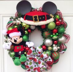 Mickey Mouse Christmas Wreath with Mickey Head GLASS Ear Ornaments. A perfect little wreath for your office, to give as a gift or to give to