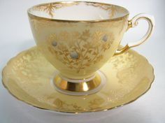 Antique Tuscan Tea Cup And Saucer, Yellow and Gold tea cup, Gold Olive tree.