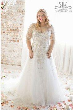 31 Jaw-Dropping Plus-Size Wedding Dresses : Acacia, Roz La Kelin Glamour Plus Collection Plus Size Wedding Gowns, 2015 Wedding Dresses, Wedding Attire, Plus Size Dresses, Bridal Dresses, Dresses 2016, Dresses Dresses, Size 20 Wedding Dress, Wedding Outfits