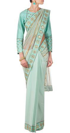 PRIYAL PRAKASH Embellished mint sari http://www.perniaspopupshop.com/