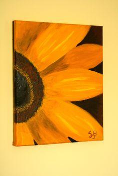 """heART of Sarah 8"""" x 10"""" yellow sunflower painting"""