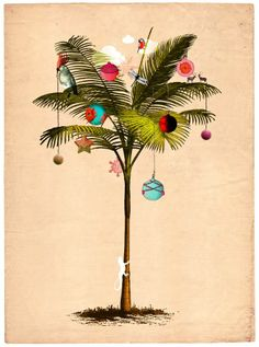 Tropical Christmas Palm Tree Art by Delphine Lebourgeois Artist Tropical Christmas Trees, Nautical Christmas, Noel Christmas, Vintage Christmas Cards, Christmas Images, Christmas Crafts, Beach Christmas Cards, Hawaiian Christmas Tree, Christmas Florida