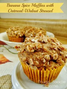 Banana Spice Oatmeal-Walnut Streusel Muffins via thefrugalfoodiemama.com #cakemix #muffins #banana