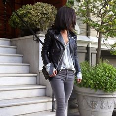 J Brand Jeans 485 Mid-Rise Sateen Skinny Pants, Armour | Spotted on @krystal_bick