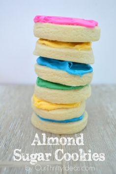 The perfect sugar cookie with a hint of almond flavoring. T… Almond sugar cookie. The perfect sugar cookie with a hint of almond flavoring. Thick & super soft too. Almond Sugar Cookies, Sugar Cookies Recipe, Yummy Cookies, Yummy Treats, Sweet Treats, Baby Cookies, Heart Cookies, Valentine Cookies, Christmas Cookies