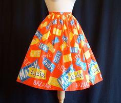1950s Novelty Print Skirt / Magazine by RainbowValleyVintage, £85.00