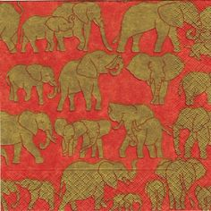 20 Red Gold Orange Elephant Designer Party Napkins  by SupplyCrate, $12.00