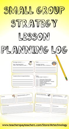 The Small Group Strategy Lesson Planning Log allows teachers to log small group work that takes place for any subject. Teachers can use the log to note trends and student improvement. Logs can also be used for communication purposes with parents during Parent-Teacher Conferences as well as evidence of small group instruction with administrators.