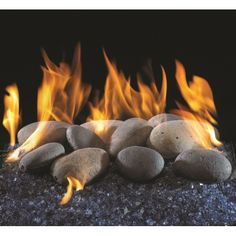 The Contemporary River Rock Vented Gas Set comes with fire glass, river rocks, and a special burner to give your fireplace a botanical vibe! Fireplace Damper, Vented Gas Fireplace, Two Sided Fireplace, Prefab Fireplace, Fireplaces, Fireplace Logs, Fireplace Glass Rocks, Fireplace Dimensions, Fire Rocks
