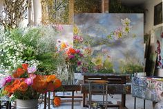 artists homes series – the home, studio and art of French large scale flower artist Claire Basler | om pom happy