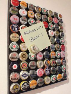 Beer Cap Magnet Board Gift idea for boyfriend, brother or Dad's that love beer. Beer Cap Magnet Board Gift idea for boyfriend, brother or Dad's that love beer. Beer Crafts, Craft Beer, Fun Crafts, Bottle Cap Projects, Bottle Cap Crafts, Bottle Cap Art, Bottle Top, Beer Bottle Caps, Diy Bottle