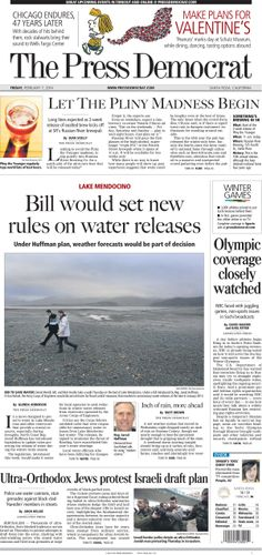 Press Democrat front page from Friday, Feb. 7, 2014.