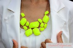 Neon necklace will brighten up any dull outfit.