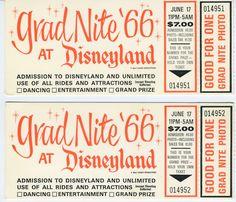 Disneyland Grad Nite Tickets - 1966