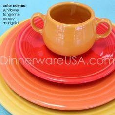Fiesta Stack with new #FiestaPoppy color - includes Sunflower, Tangerine, Poppy and Marigold #Fiestaware http://dinnerwareusa.com