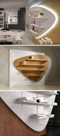 The design of Libreria, modern wall bookshelf, was inspired by the sea and the smooth rocks often found scattered along its shoreline. Wall Bookshelves, Bookshelf Design, Wall Shelves Design, Diy Wall Shelves, Modern Bookshelf, Modern Shelving, Corner Shelves, Floating Shelves, Lcd Wall Design