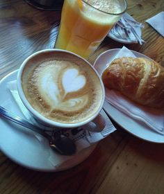 Once you wake up and smell the coffee, it's hard to go back to sleep. #coffee #goodmorning #croissant #orangejuice #fresh #heart #lovecoffee