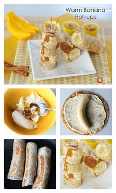 Warm Banana Roll-Ups Recipe – Warm and crispy! These Banana Roll Ups have been … Warm Banana Roll-Ups Rezept – Warm und knusprig! Diese Bananen-Roll-Ups [. Baby Food Recipes, Gourmet Recipes, Snack Recipes, Snacks Ideas, Food Ideas, Banana Roll, Roll Ups Recipes, Peanut Butter Roll, Super Healthy Kids