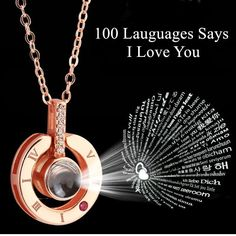 100 Languages Light Projection I Love You Pendant Necklace Lover Jewelry Gifts. 1 x 100 Languages I Love You Necklace. The 100 different languages I LOVE U will be shown on your phone screen. Necklace Price, Love Necklace, Heart Pendant Necklace, Angel Necklace, Choker Necklaces, Necklace Ideas, Rhinestone Necklace, Crystal Necklace, Great Gifts For Women
