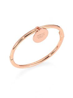 Kate Spade New York Rose Is A Rose Charm Bangle Bracelet..>>>>Notice..Engraved..Wrds..Stop and Smell the Roses....and this Rose gold. Clever*****************