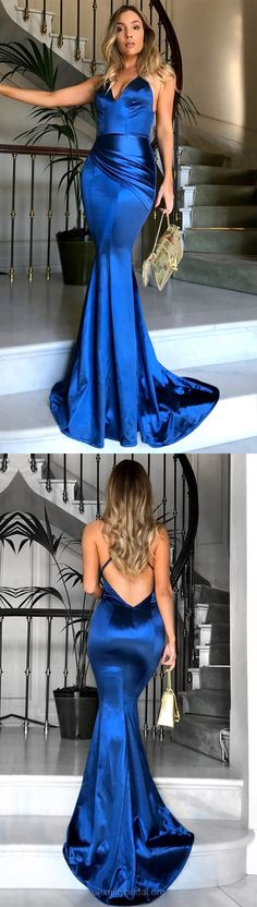 Prom Dresses, Blue Prom Dresses, Long Prom Dresses, Mermaid Prom Dresses 2018, Silk-like Satin Prom Dresses V-neck, Modest Prom Dresses For Teens