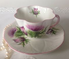 Shelley Dainty Thistle Tea Cup & Saucer  Teacup Duo