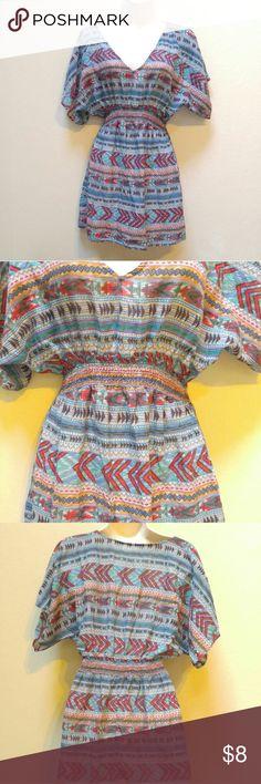 Aztec top Cute design!  Elastic waistband. Tops