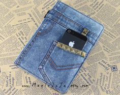 Real Denim ipad mini case,Jeans iPad case,Antique bronze studs denim ipad case cover - love it
