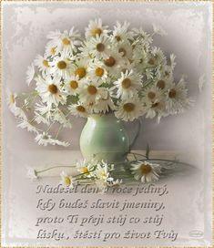 Přáníčko k svátku s říkankou | Tvoření Wonderful Flowers, Love Flowers, Flower Vases, Flower Art, Daisy, Growing Flowers, Lily Of The Valley, Still Life Photography, Acrylic Painting Canvas