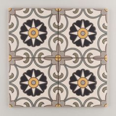 The Classic Cuerda Seca Handpainted Collection: Seville in the Neutral Motif.  A fresh, bright, pattern, ready to stand on it's own Seville also plays well with others. Use as field decorative, as a border, or a dramatic drop-in. Available in a 6x6 size. $28/piece.
