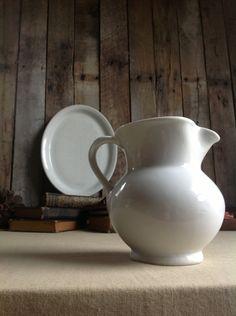 Vintage Stoneware Pitcher  Vase by seedlingplantation on Etsy, $15.00