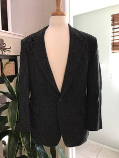 Cartier Charcoal/Black Men's Wool Jacket  Sports Coat