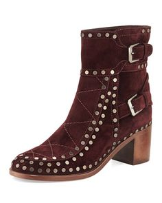 Studded Velvet Suede Ankle Boot, Wine Ruthenium by Laurence Dacade at Neiman Marcus.