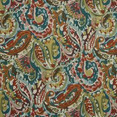 Teal and Orange Abstract Woven Upholstery Fabric - Modern Red Teal Fabric for Furniture - Contemporary Aqua Red Roman Shade Material