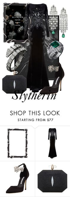 """""""Snark"""" by raecycle ❤ liked on Polyvore featuring Olivia Riegel, Zuhair Murad, Manolo Blahnik, Marchesa, Bulgari, harrypotter, slytherin, hogwarts, movies and books"""