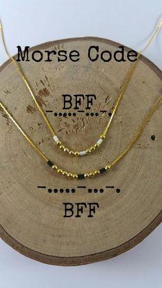Morse code necklace with secret message BFF You can see the co . - Morse Code Necklace With Secret Message BFF You Can Use The Co … - Bff Necklaces, Dainty Necklace, Dainty Jewelry, Handmade Jewelry, Handmade Gifts, Bohemian Necklace, Diy Necklace Gift, Jewelry Bracelets, Sister Necklace