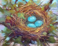 """Technique for Painting a Bird Nest in Pastel"" - Original Fine Art for Sale - © Karen Margulis Pastel Drawing, Painting & Drawing, Drawing Artist, Chalk Pastels, Soft Pastels, Watercolor Bird, Bird Art, Painting Inspiration, Decoupage"