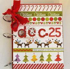 Looks like a simple enough technique, strips of holiday paper. Chipboard book? #SimpleDecDaily