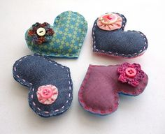 Scrappy Heart Brooches