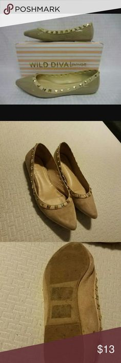 FINAL PRICE NO OFFERS Tan studded flats by wild diva lounge. No box included. Worn twice. In great condition. Faux suede msterial. Price is firm unless bundled. Fits true to size. Also have black and tan as well. Wild Diva Shoes Flats & Loafers