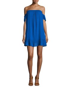 Off-The-Shoulder Mini Dress, Ebony - MISA Los Angeles