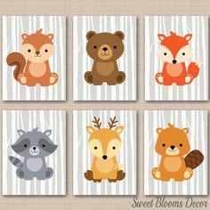 Woodland Nursery DecorWoodland Nursery Wall by SweetBloomsDecor Woodland Animals Theme, Woodland Nursery Decor, Woodland Baby, Forest Animals, Woodland Creatures Nursery, Safari Animals, Baby Animals, Owl Wall Art, Nursery Wall Art